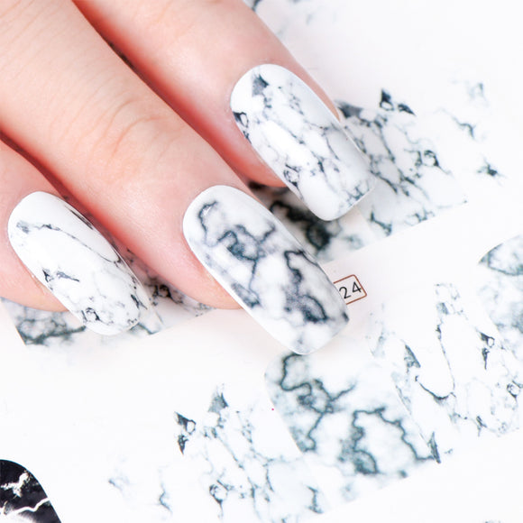 1PCS White Black Gradient Marble Nail Art Sticker Water Transfer Decal Watermark Slider Manicure Full Wrap Tool Decor - 88digital