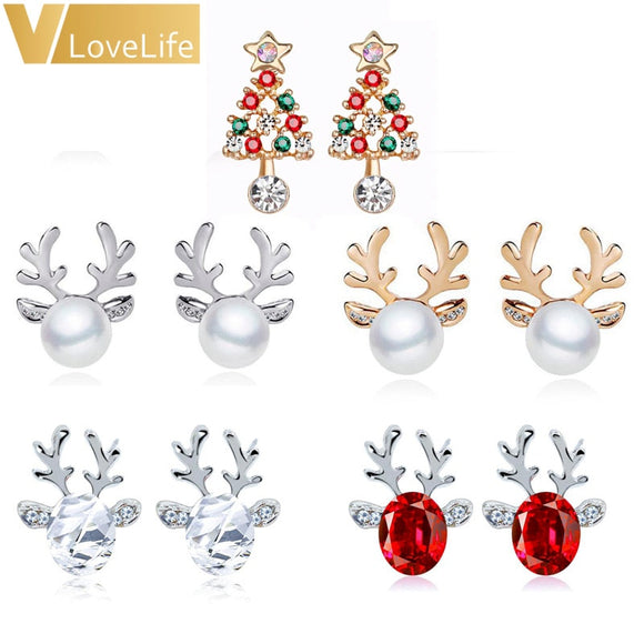 1Pair Women Xmas Gift Elegant Jewelry Christmas Pearl Deer Earrings Reindeer Ear Stud - 88digital