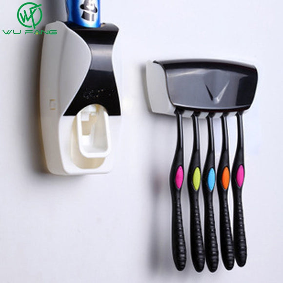 1Set  Toothpaste Dispenser Tooth brush Holder Wall Mount Rack - 88digital