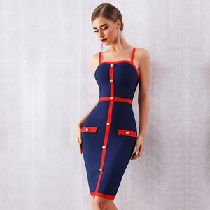 Blue Bodycon Bandage Dress Women Elegant Spaghetti Strap Night Club Dress Celebrity Party Dress - 88digital
