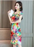 Big Women Print Dresses Long Casual Round-neck Cotton Dress Short Sleeves Mid-calf Plus Size - 88digital