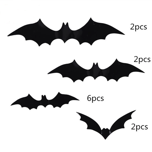 12Pcs/Pack  Halloween Decoration DIY PVC Black Bat Wall Sticker Atmosphere All Saints' Day Decorative Supplies - 88digital