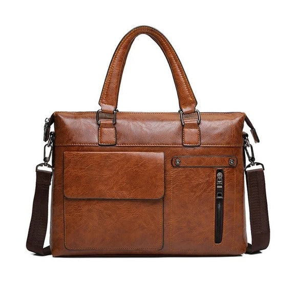 13 Inch Laptop Bag Travel Handbag Men Briefcase PU Leather - 88digital