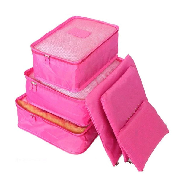 6PCs/Set Travel Bags Luggage Zipper Bag Portable Packing Organizer Waterproof Case Bag - 88digital