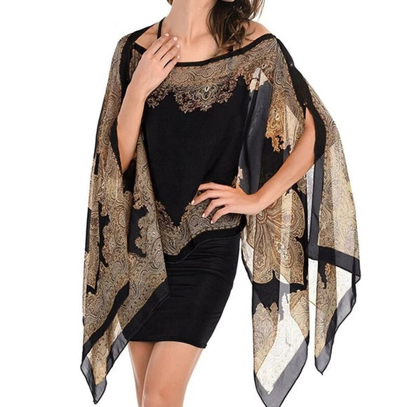 Boho Batwing Sleeve Chiffon Blouse Women Casual Floral Print Loose Kimono Shirts Big Size Beach Tunic Tops Peplum Blusa Robe - 88digital
