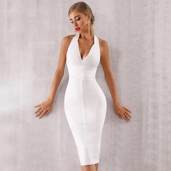 Bodycon Bandage Dress Sexy Halter V Neck Backless Club Dress Celebrity Evening Party Dress - 88digital