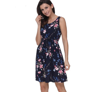 Women Summer Dress Floral Print Sleeveless Casual Dress Tank Dress Cotton Short Retro Vintage Dresses Vestidos - 88digital