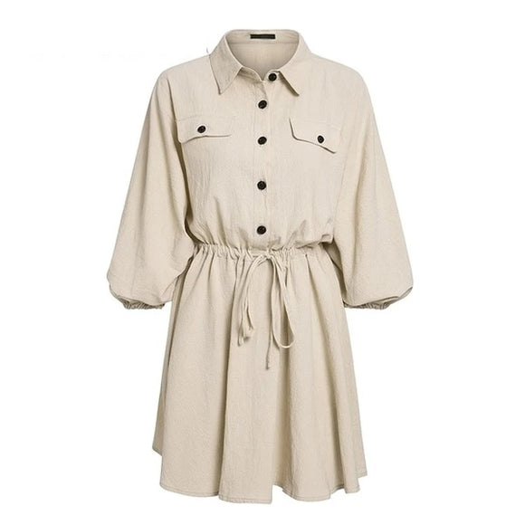 Vintage elagant women mini shirt dress Casual lantern sleeve short Turndown collar lace up linen female dresses - 88digital