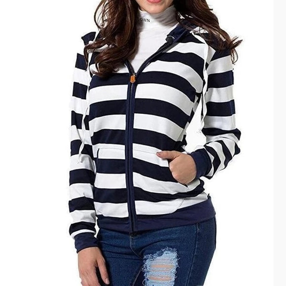 Blue White Autumn Women Striped Hoodies Sweatshirt Long Sleeve Hooded Zipper Pockets Jackets Casual Plus Size Big SizeTracksuit Womens Clothes - 88digital
