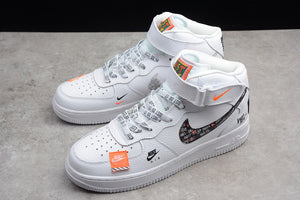 Nike Air Force 1 '07 MID PRM Just Do It AF1 White Orange Joint Name Men Women Sneakers Shoes BQ6474-100