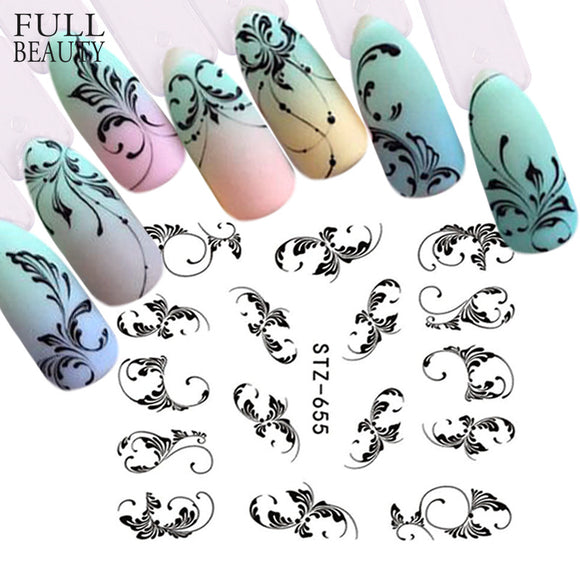 1pc Black Flower Vine Nail Water Sticker Decals Leaf Lace Design Slider Nail Art Decoration Sticker DIY Summer Wrap - 88digital