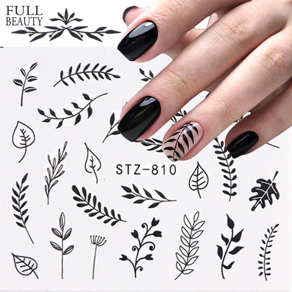 1pcs Black Leaf Nail Sticker Flower Water Transfer Decal Slider Nail Art Decoration for Manicure Wraps Foils Tips - 88digital