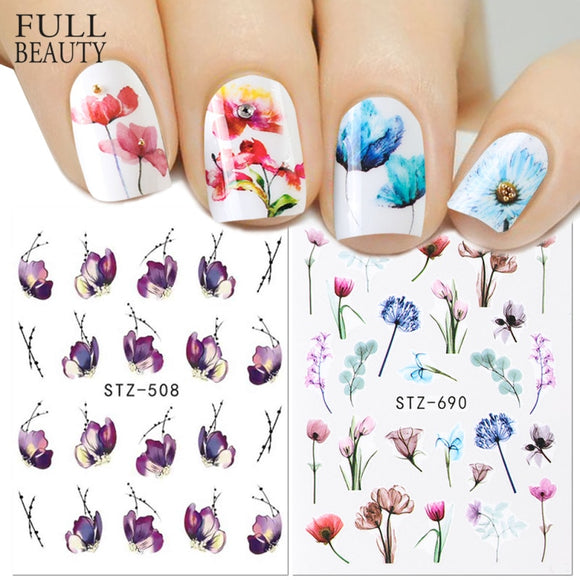 1pcs Floral Slider Water Stickers Decal For Nail Art Transfer Tattoo Flamingo Leaf Gel Manicure Adhesive Decor Tip - 88digital