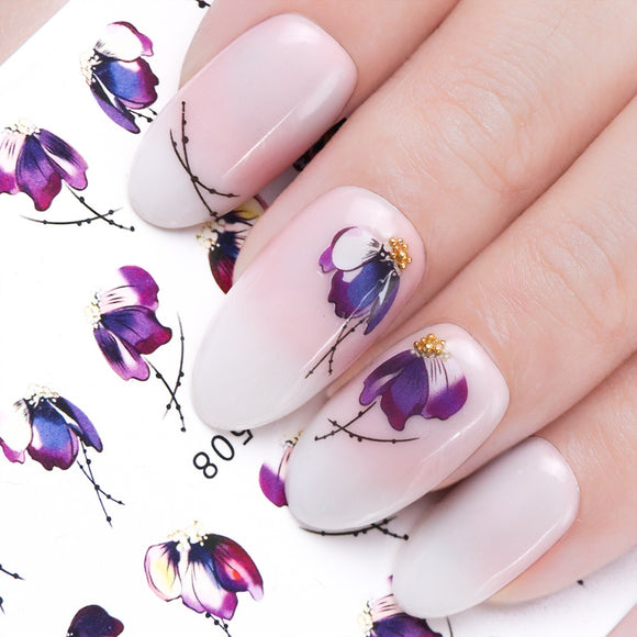 1pcs Nail Sticker Butterfly Flower Water Transfer Decal Sliders for Nail Art Decoration Tattoo Manicure Wraps Tools Tip - 88digital