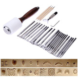 20/25PCS/Set Stainless Steel Leather Carving Stamps Hammer Beveler Kit DIY Leathercraft Embossed Leather Hand Tools - 88digital