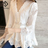 White V Neck Lace Shirt Blouses Casual - 88digital