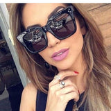 2018 Kim Kardashian Sunglasses Lady Flat Top Eyewear Lunette Femme Women Luxury Brand Sunglasses Women Rivet Sun Glasse UV400 - 88digital