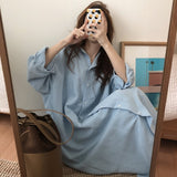 White / Blue long shirt dress plus size long sleeve dresses - 88digital