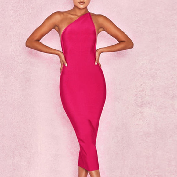 Women Bandage Vest Sleeveless Mid Calf Solid Celebrity Runway  Evening Party Dress Bodycon - 88digital