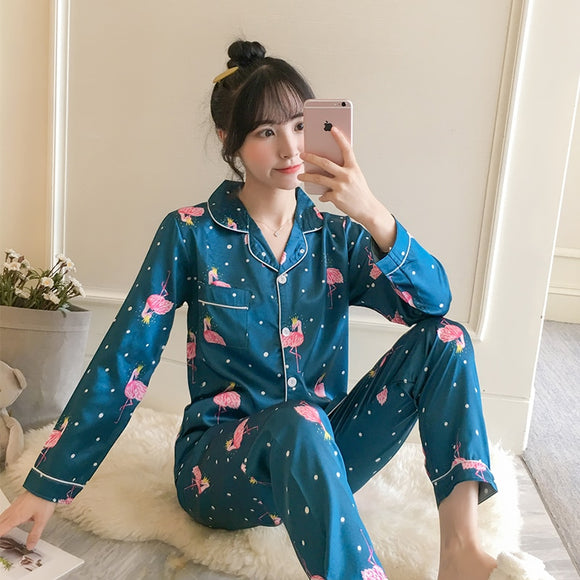Autumn Women's Pajamas Sets with Flower Print Fashion Luxury Female Faux Silk Two Pieces Shirts + Pants Nighties Sleepwear - 88digital
