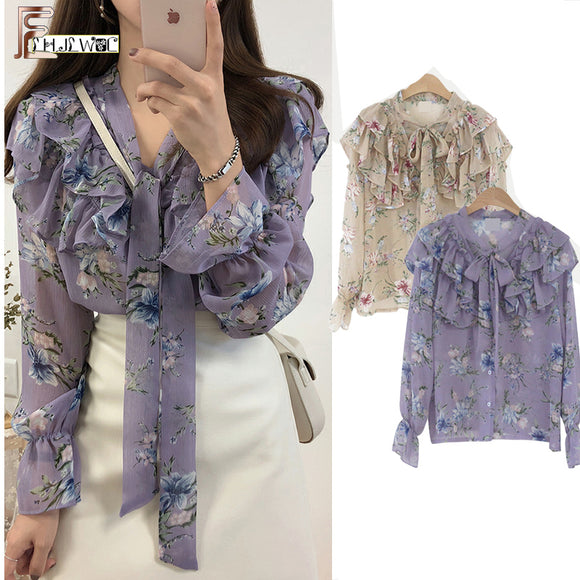 Bow Tie Women Korean Style Blouses Shirts Purple Floral Vintage Blouse Chiffon Long Sleeve - 88digital