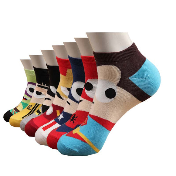 Men socks cotton summer superheroes colorful art short socks funny cartoon ankle sock gifts for men - 88digital