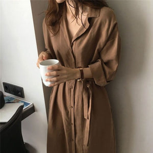 Brown Black Ladies Commute Casual Shirt Dress Summer Autumn Collar Long Sleeve Sashed Single Solid Women Dresses Feminine Elegant - 88digital