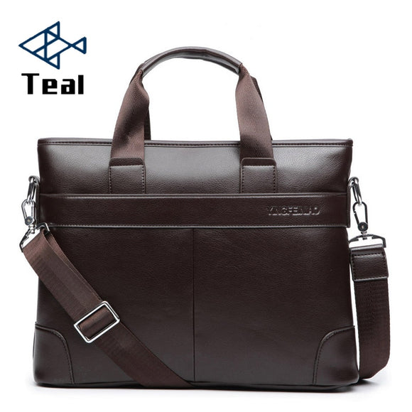 Men's Business Black Casual Bag pu leather Briefcase men's Tote bags Brown High quality male Business large capacity - 88digital