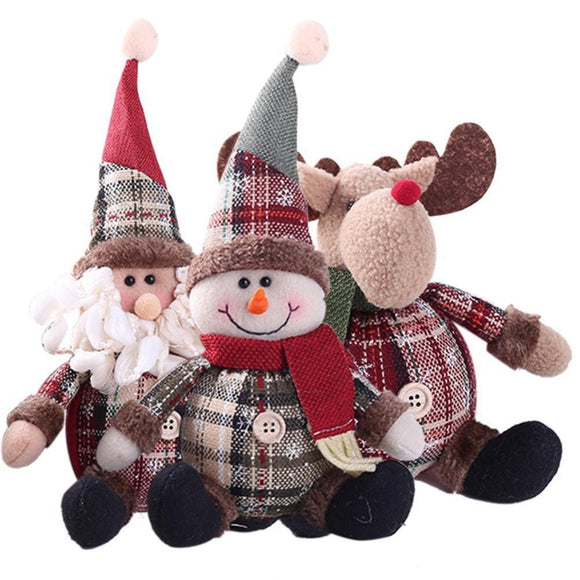 2019 Merry Christmas Tree Ornaments Cartoon Christmas Doll Children Snowflake Plaid Santa Claus Elk Doll for Home New Year Gifts - 88digital