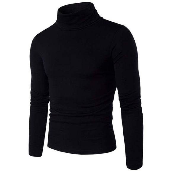 Autumn Winter Men'S Sweater Men'S Turtleneck Solid Color Casual Sweater Men's Slim Fit Brand Knitted Pullovers 2XL - 88digital