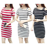 White / Black / Red Boat Neck Oblique Shoulder Cotton Striped Short Sleeve Casual Dress Slim Summer Dresses - 88digital