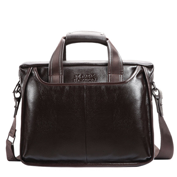 Fashion cowhide male commercial briefcase /Real Leather vintage men's messenger bag/casual Natural Cowskin Business bag - 88digital