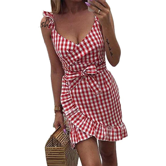 Green  Red  Pink  Yellow  Light Blue Small Squared Spaghetti Strap V-Neck Women Dress - 88digital