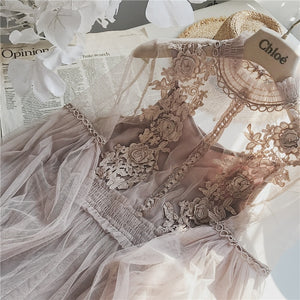 Women Fashion Sleeve Mesh Dress See-through Lace Embroidery Fairy Dress Robe Big Size - 88digital