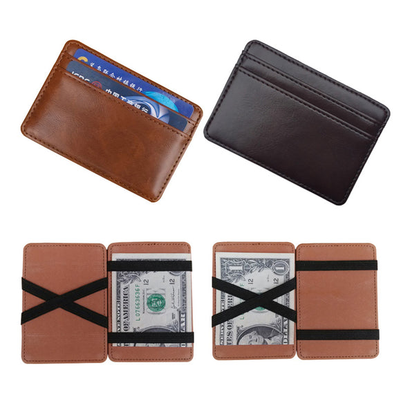 High quality leather magic wallets Fashion men money clips card purse cash holder 2 colors - 88digital