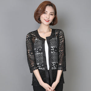 Big Size Women Lace Blouse Cardigan Outer Coat Black Crochet Blouse Shirt - 88digital