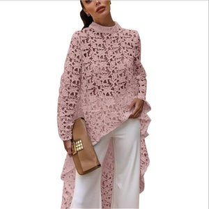 Pink White Black Navy blue Light yellow Yellow Hollow Out Shirt Lace Long Sleeve Irregular Tops Blouse Loose Flora Printed - 88digital