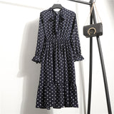 Chiffon Dresses Stand Neck With Bow Floral Print Ruffles Dress S-XL - 88digital