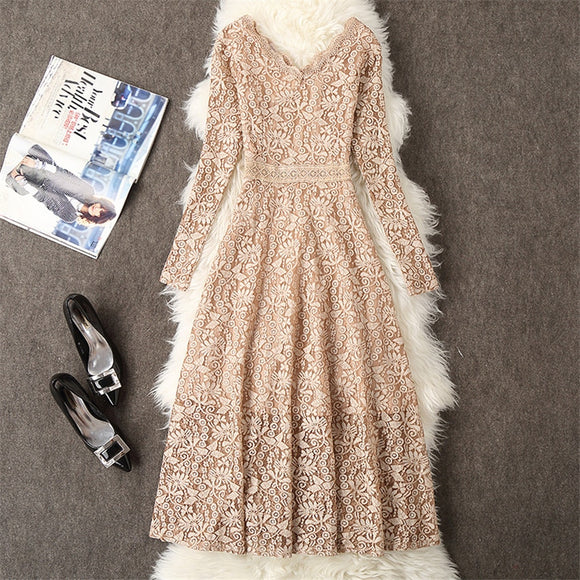 Summer Dress Women Long Sleeve Lace Dress Big Size M-3XL Dress Elegant Lady Long V-neck Party Dressess Vestidos - 88digital
