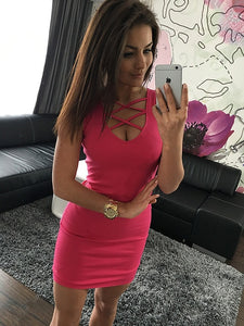 Black Pink Summer Body con Sexy Slim Women Dress Solid Color U-neck Cross-belt Dress Sleeveless Plus Size Big Size Over Size Package Hip Dress - 88digital