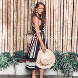 Summer holiday dress striped long dresses summer beach dress - 88digital