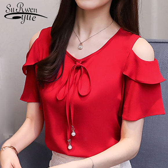 Bow v-neck sweet women open short sleeve chiffon shirt blouses red ties big size - 88digital