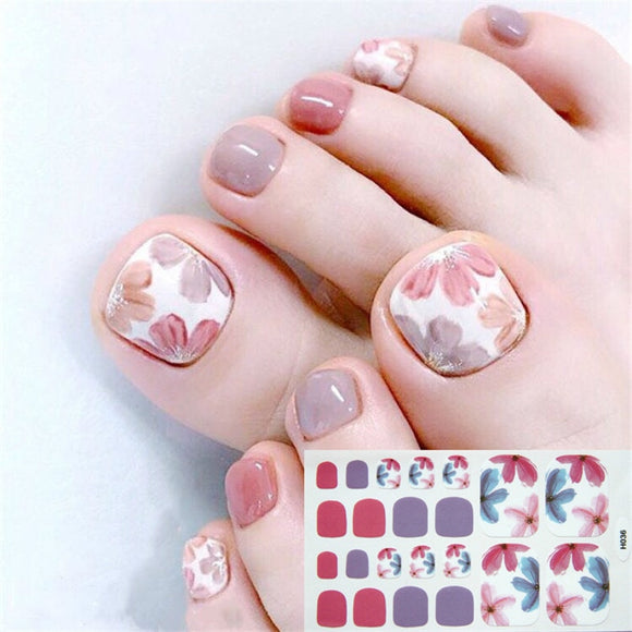 22tips Korea/Japanese Designed Toenail Sticker Full Cover Waterproof Nail Sticker Wraps Toe Nail  DIY Nail Art unas Nail Sticker - 88digital