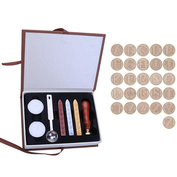 26 Letters Alphabets Metal Sealing Wax Stamps Set 25mm Stamps Wax Seals Delicate Stamps Craft with Durable Gift Box - 88digital