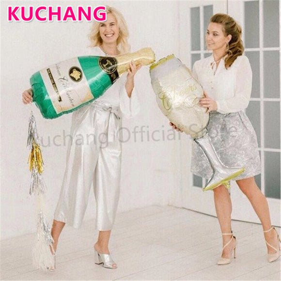 2pcs Large Size Champagne Cup Bottle Aluminium Foil Balloons Wedding Birthday Party Decorations Anniversary Baby Shower Supplies - 88digital