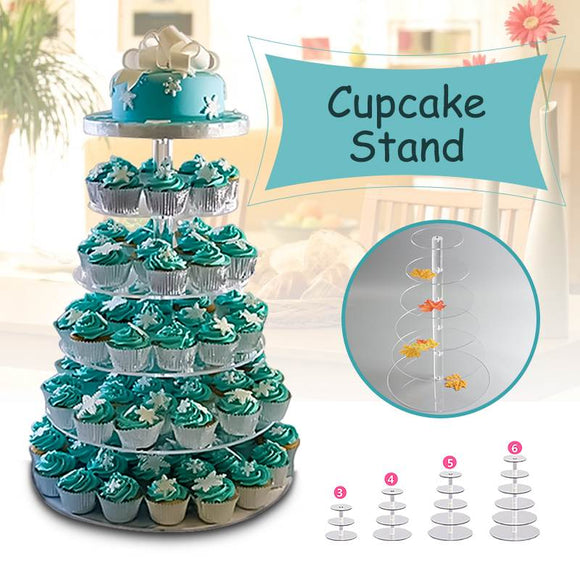 3/4/5/6 Tier Clear White Round Cup Cake Stand Acrylic Cupcake Stand Supplies Display Tower Wedding Birthday Party Decoration USA - 88digital