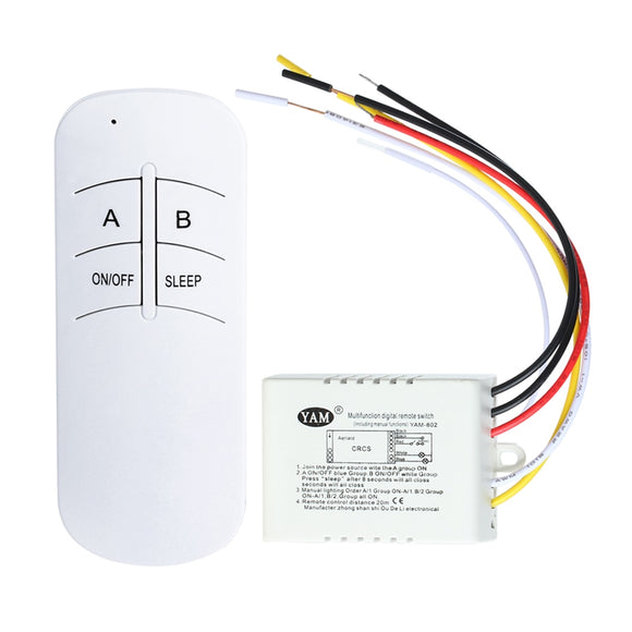 3 Port ON/OFF 220V Lamp Light Digital Wireless Wall Remote Control Switch Receiver Transmitter - 88digital