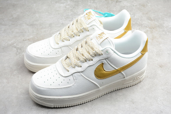 Nike Air Force 1 '07 AF1 White White Beige Gold Men Women Sneakers Shoes 315122-108