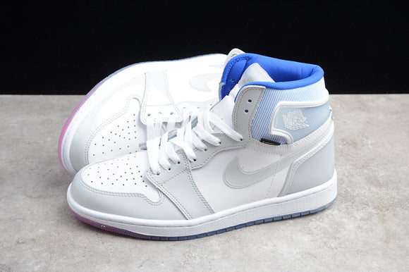 NIKE Air Jordan 1 High Zoom R2T Racer Blue off-white gradient Dior white and light gray, continuing the classic leather upper + nylon CK6637-104