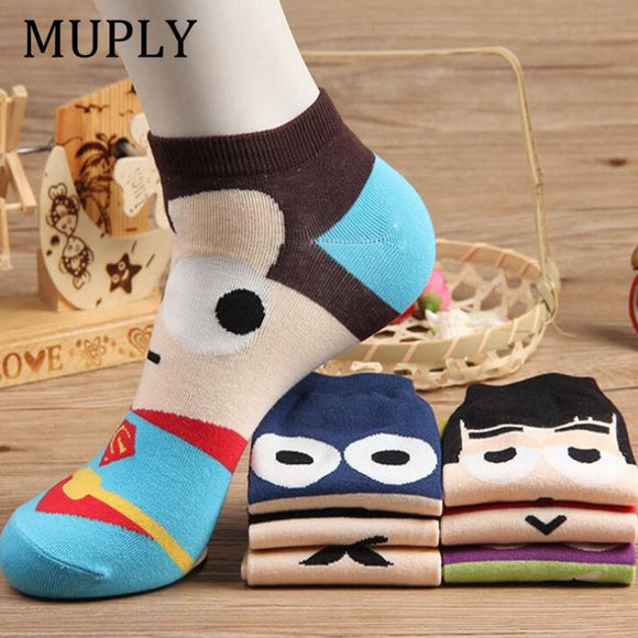 36-42 Summer Men Harajuku Socks Hip Hop Ninja Batman Superman SpiderMan Captain America Avengers Short Novelty Sokken - 88digital